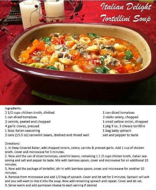 Cheesy Tortellini soup | Pampered Chef Stoneware Recipes | Pinterest | Tortellini, Pampered chef ...
