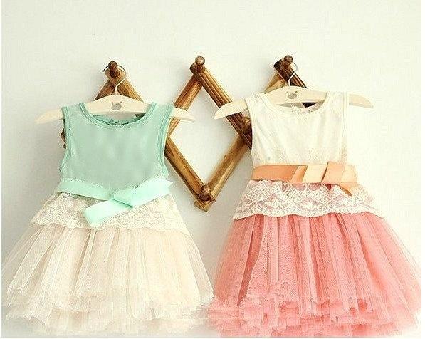 """""""Vintage Style Lace Children's Dresses - Peach Pink & Mint #fashion"""""""