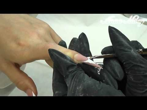 """Nail Art by Anna Milay. """"Weißes French mit Goldener Blume"""" - YouTube"""