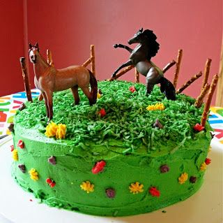 The Horse Saddle Shop's blog has great directions for how to create this cool Breyer Stablemates cake!