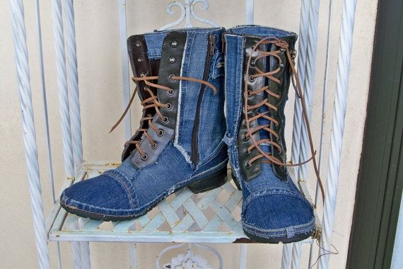 Upcycled refashioned blue jean boots denim by CalCoastCreations