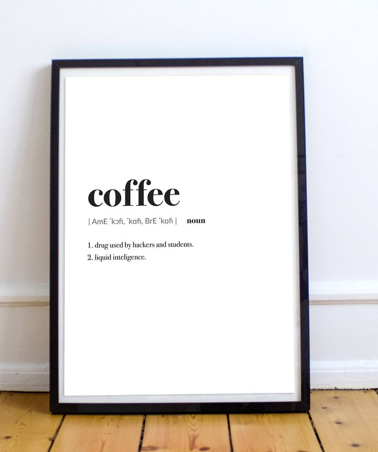 Coffee, Wall Art, Definition, Wall Deco, Decoration, Prints, Printable, House Warming, Art Prints, Quotes, Quote de Ugaz en Etsy