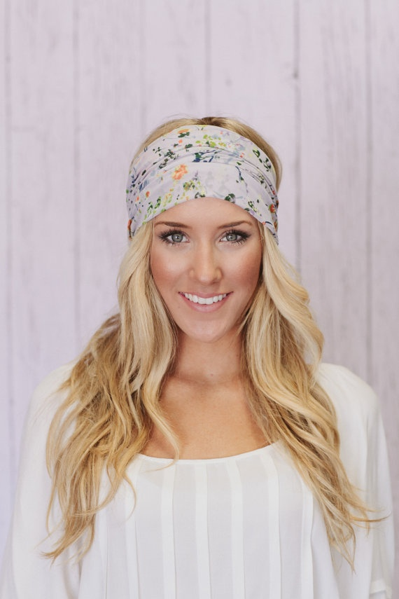 Lavender Floral Headband Wide Chiffon Hair Band by ThreeBirdNest, $28.50