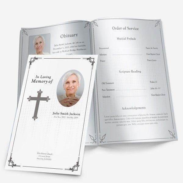 Traditional Cross Funeral Program. More theme designs and traditional funeral programs for download available at FuneralPamphlets.com