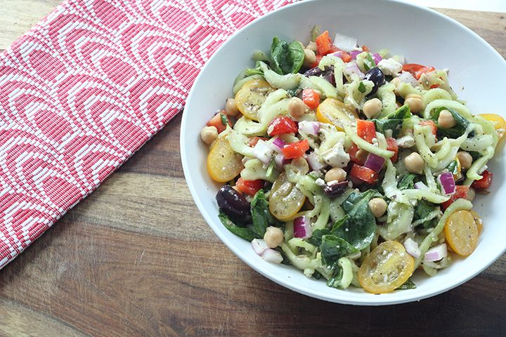 Greek Pasta Salad with spiralized cucumber noodles...oh yeah