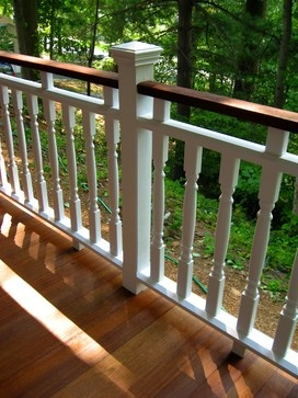 Option for making balusters look shorter CAPE COD HOME -- FRONT PORCH AND VICTORIAN-ESQUE RE-STYLING - traditional - porch - new york - WJM Architect
