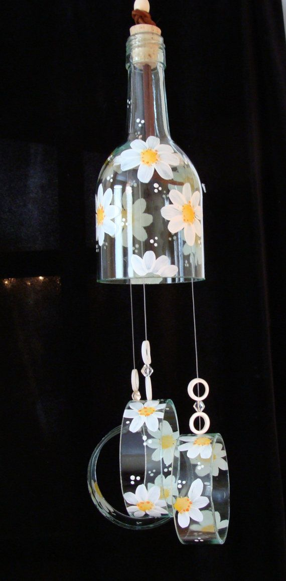 Wind Chime White daisies made from recycled wine by BottleofLight, $30.00