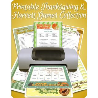 Printable Thanksgiving games collection with over 35 games for adults, kids, and dinner parties.