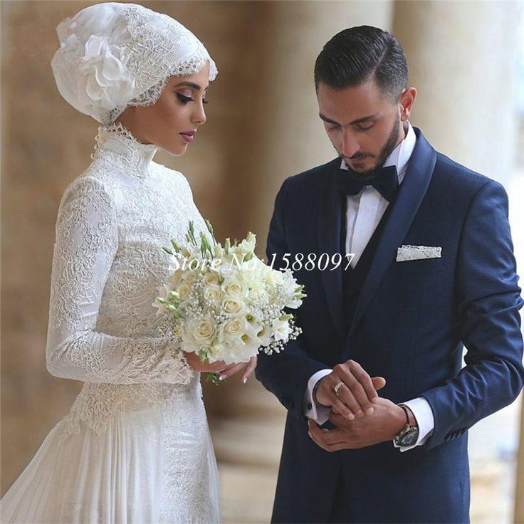 Мода высокий воротник кружева мусульманин свадебное платье 2015 А линия белый арабский свадебное платье невесты платья с бесплатным хиджаб купить на AliExpress