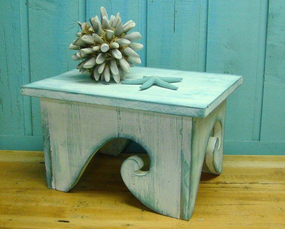 Since we're doing a beachy/ocean theme...Waves Step Stool Footstool Bench White Turquoise by CastawaysHall, Etsy