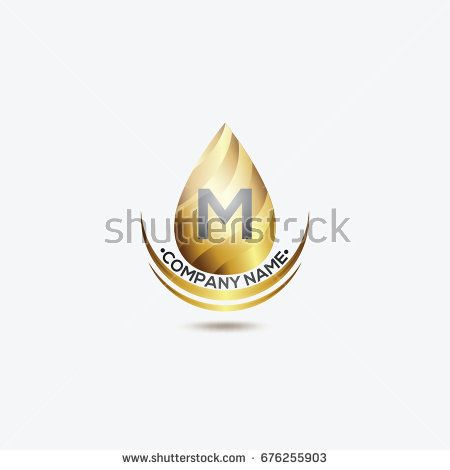 Gold Water Icon Logo With M Initial Vector