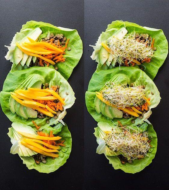 Wraps laitue lentilles - 9 idées de plats vegan à faire en moins de 20 minutes - Elle à Table