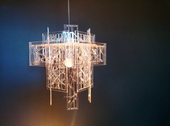 Recycled acrylic  laser cut  light shade / chandelier by EcoOxygen