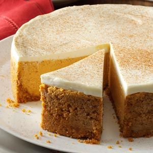 Pumpkin Cheesecake with Sour Cream Topping Recipe from Taste of Home