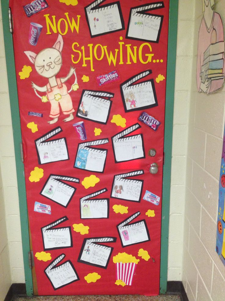"""If You Take a Mouse to the Movies door decoration for Read Across America. Students wrote """"If you give a 1st grader a book....."""""""
