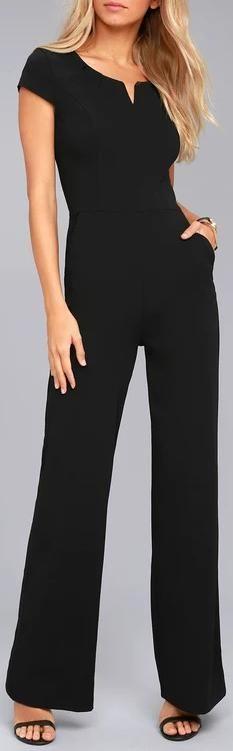 Black Daily Fashion Short Sleeve Wide Leg Jumpsuit #jumpsuit