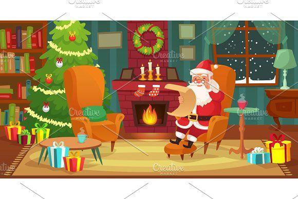 Christmas Interior Santa Claus Christmas Interiors Christmas Art Diy Christmas Cards