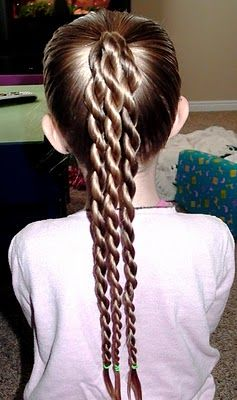 Very cute little girl's hairstyle, braided pony tail