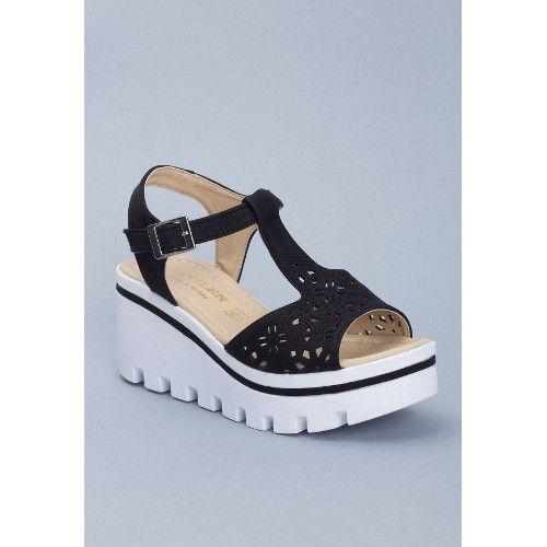 Sev Siyah Kemerli Bayan Dolgu Topuk Sandalet Ayakkabı 66,44 TL ve ücretsiz kargo ile n11.com'da! Erbilden Terlik
