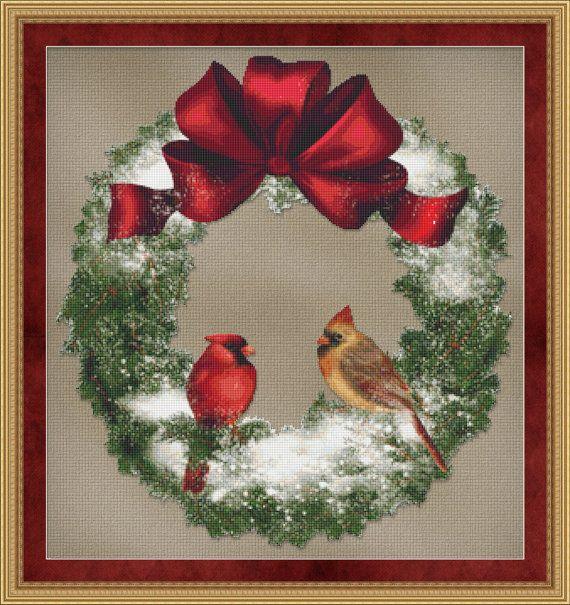http://www.etsy.com/listing/99406461/counted-cross-stitch-pattern-bird-wreath