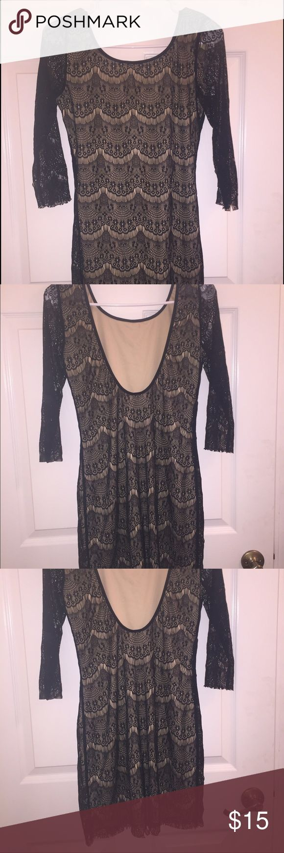 BOGO Black and Tan lace dress All items in my closet are buy one get one 50% off❗️ Put in comments which items you would like 😊 cheaper item will get discount🐱Beautiful dress will plunging back and lace sleeves Dresses Midi