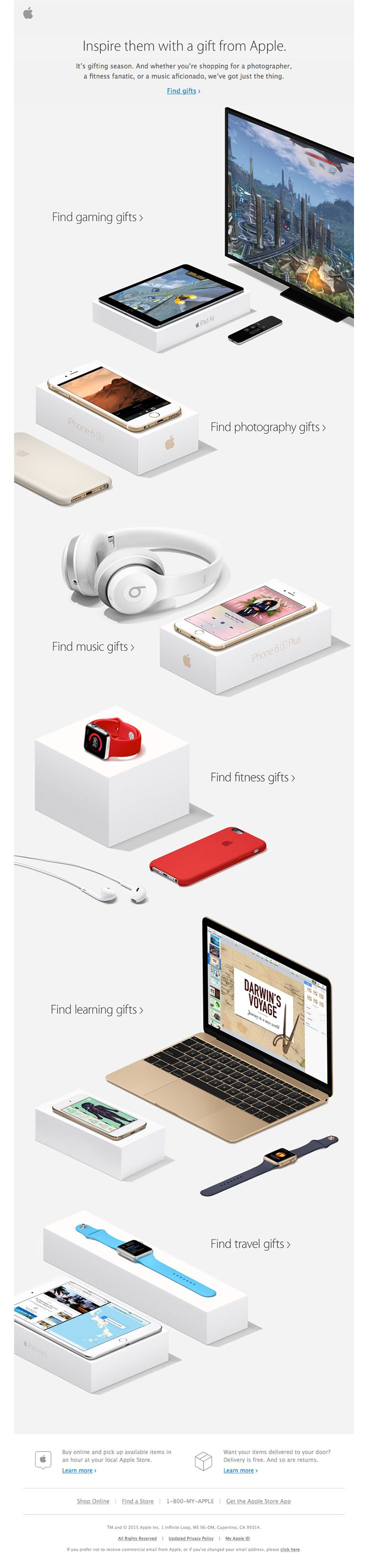 """Apple sent this email with the subject line: Great gifts for whatever they're into - You may think that this is a crazy-long email when you first look at it, but the spacing and """"white space"""" between products, along with how they are aligned, can teach you a lot. Each product is in its own slice, with a repeating Z pattern that leads your eye downward. Read about this email and find more promotion emails at ReallyGoodEmails.com #ecommerce #holiday #promotion"""