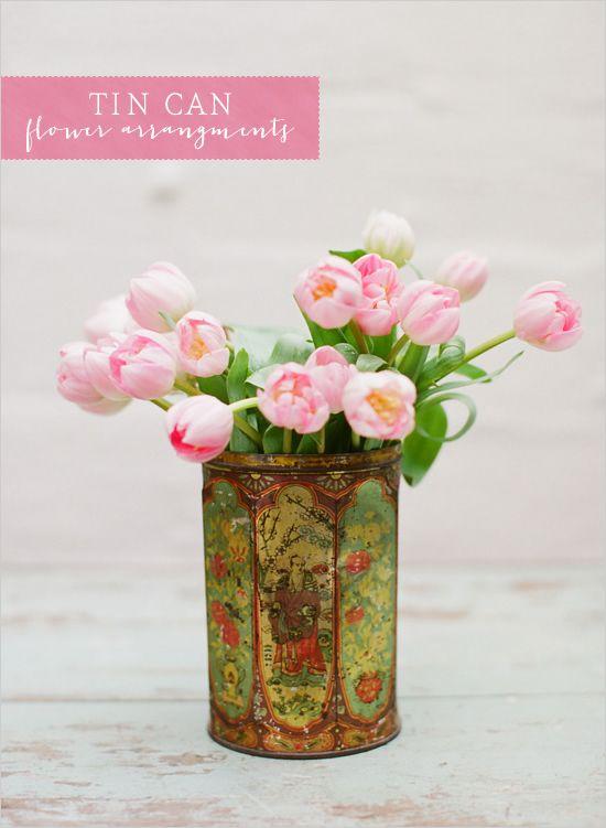 tin can floral arrangements, do you love?: Wedding Ideas, Vintage Tins, Flower Arrangements, Tin Cans, Pink, Arrangements Wedding, Floral Arrangements, Flowers