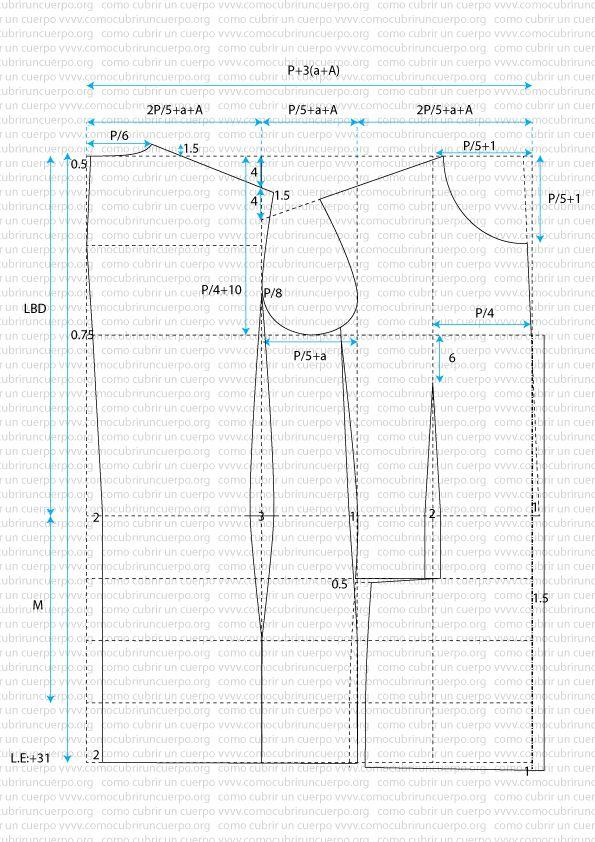 Patrón proporcional de la americana de caballero conformación normal