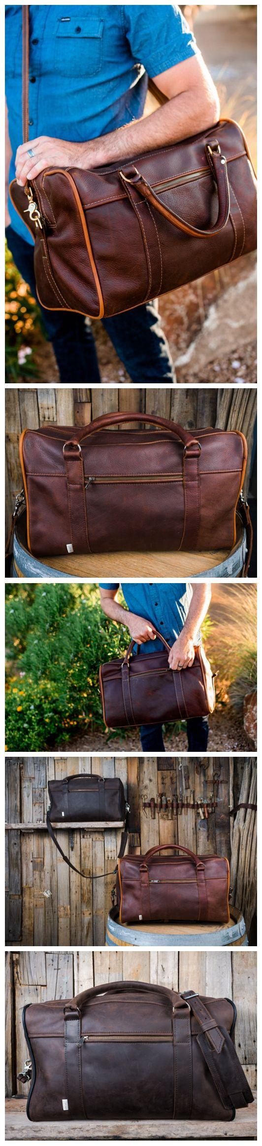 Men's Leather Duffle Bag Mens Weekender Bag Weekend Bag Travel Bag Carry On…