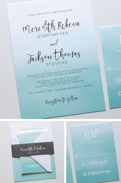 Ombre wedding invitations, Blush Paperie