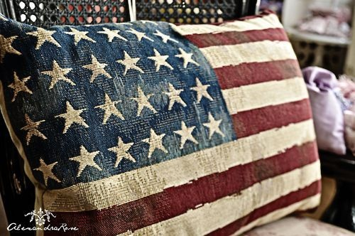 old flag pillow - I really like this.  It would look great in my livingroom.