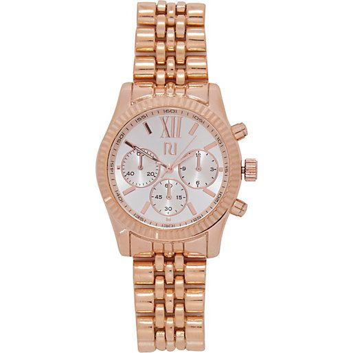 Rose gold tone roman numeral bracelet watch #riverisland