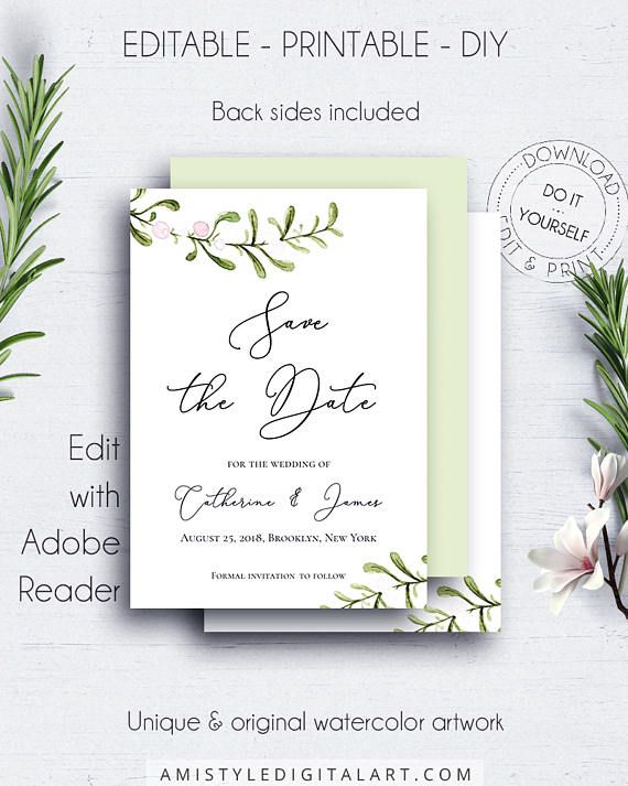 Winter Wedding Save Date Invitation With Adorable Watercolor Mistletoe Graphics Which Fits Your M Winter Wedding Planning Wedding Saving Save The Date Cards