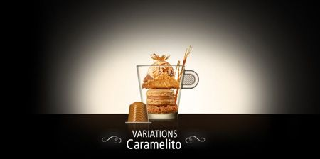 Nespresso Caramelito -  The sweet flavour of caramel softens the roasted notes of the Livanto Grand Cru. This delicate gourmet marriage evokes the creaminess of soft toffee.  Intensity: 6  Discover Caramelito and the other new Permanent Variations Grands Crus here: j.mp/108arol