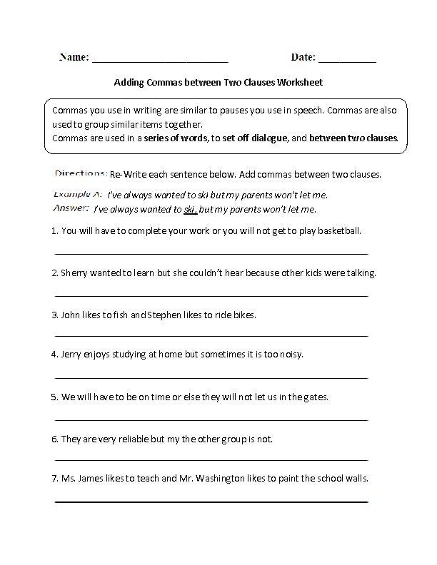 Commas worksheets