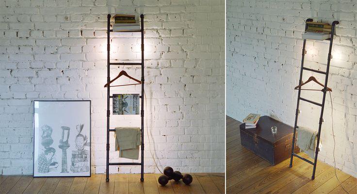 Стеллаж лестница в стиле лофт с подсветкой