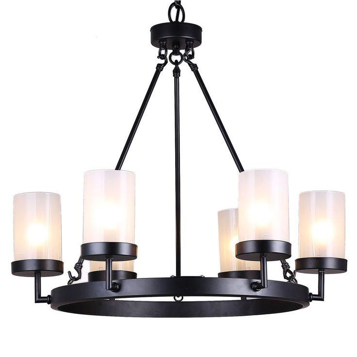 Chandelier Lights Shops In Chennai: Eliana 6-light Black Linear Glass Globe Chandelier By The