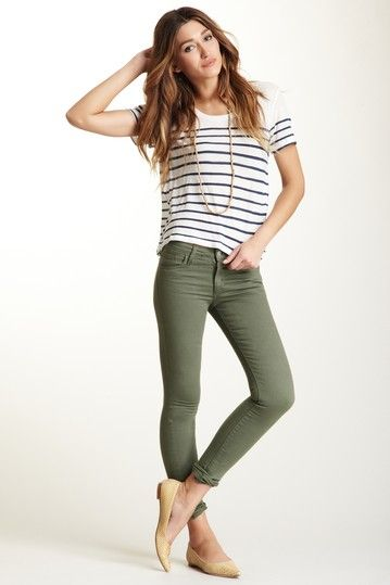 olive skinnies and stripes.