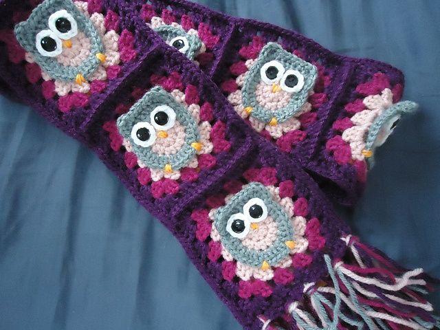 Free Crochet Owl Patterns | owl scarf - free owl granny pattern here: ... | Crochet Scarf, Shawl ...