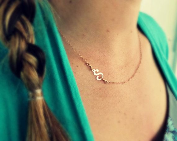 Rose Gold Initial Necklace Sideways Initial by vintagestampjewels, $26.00