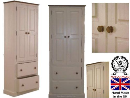 100% Solid Wood Storage Cabinet, 200cm Tall White Painted U0026 Waxed Pantry,  Larder