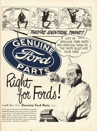 """1948 FORD PARTS vintage magazine advertisement """"They're Identical Twins"""" ~ They're Identical Twins!! Just as genuine Ford Parts are identical twins to the parts built into your Ford ... Right for Fords! ~"""