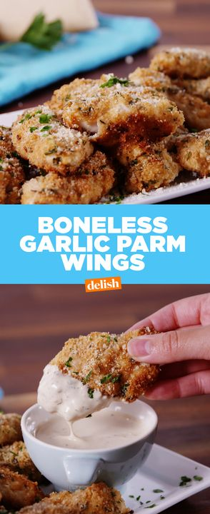 These boneless wings are seriously PACKED with flavor.  Get the recipe from Delish.com.