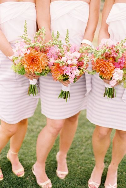 striped bridesmaids dresses