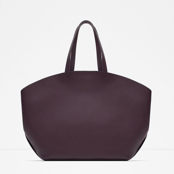 Zara Contrast Tote ($40) ❤ liked on Polyvore featuring bags, handbags, tote bags, burgundy, burgundy purse, zara tote bag, zara tote, zara purse and tote handbags