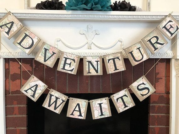 Adventure Awaits Banners, Traveling Wedding Decorations, Traveling Bridal Shower Decor, Card Decoration, Graduation Party Decor, Adventure Decor - #aboutue ...