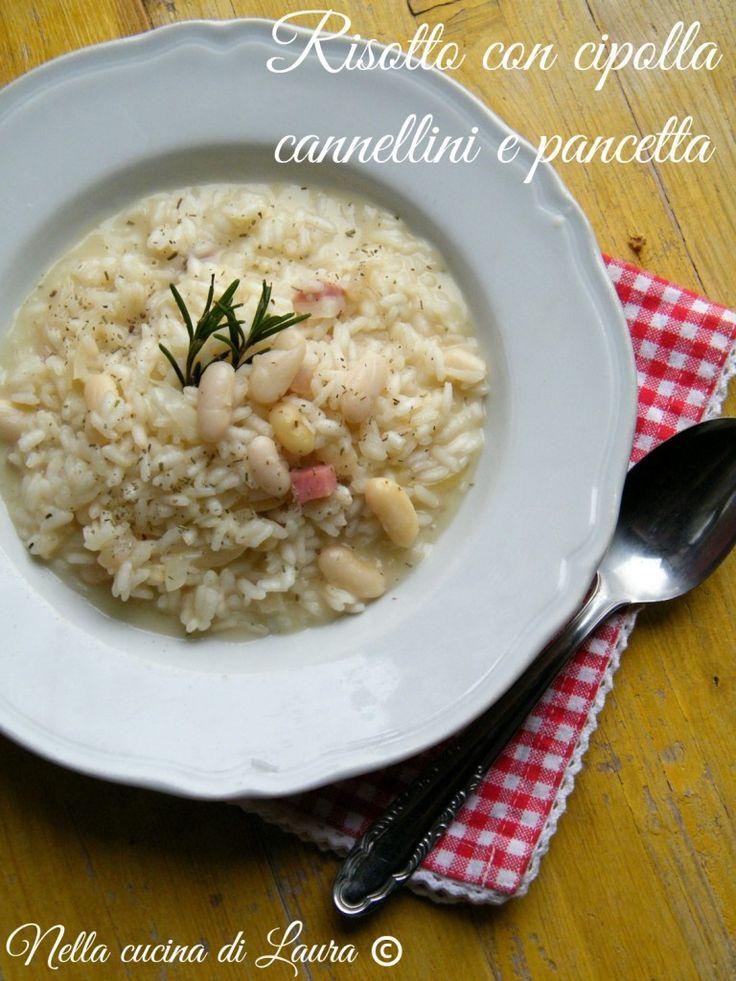 risotto con cipolla cannellini e pancetta - nella cucina di laura