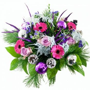 Geschenken voor kerst biedermeier boeket paars/ lila wit