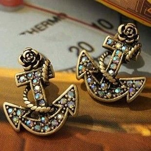 Too cute!Cheap Jewelry, Fashion, Style, Anchors Earrings, Stud Earrings, Studs Earrings, Anchor Earrings, Things, Accessories