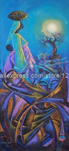 Pintura expresionista la vista de áfrica Fine Art pinturas al óleo hechos a mano lienzo imagen restaurante decoración de la graduación Souv(China (Mainland))